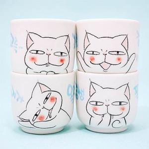 [韓国雑貨]ニャンコのハングル台詞 焼酎カップ(4つセット)|seoul4