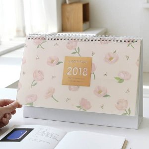 [韓国雑貨]お花のパターンが上品な 卓上用カレンダー《2018年韓国暦》[カレンダー][ダイアリー]|seoul4
