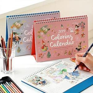 [韓国雑貨]=indigo= 毎月おとぎの塗り絵をお届け 2019 COLORING CALENDAR 《2019年韓国暦》[ダイアリー][文房具][文具][カレンダー]|seoul4