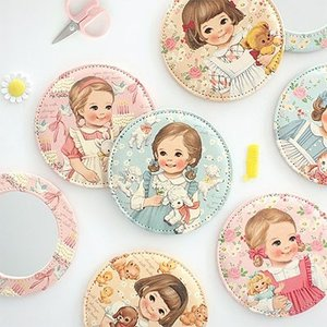 [韓国雑貨]=paper doll mate= 乙女なアナタのpocket mirror《ver.3/ ver.4》[韓国 お土産][可愛い][かわいい][文房具][文具]|seoul4