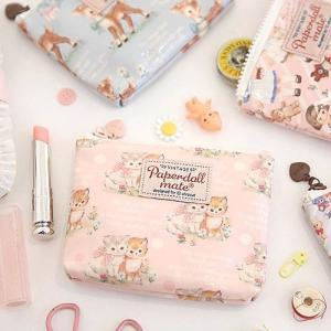 [韓国雑貨]=paper doll mate= Oil-cloth pouch S_2《ポーチ》[韓国 お土産][可愛い][かわいい][文房具][文具]|seoul4