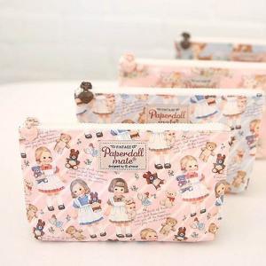 [韓国雑貨]=paper doll mate= Oil-cloth pouch M_2《ポーチ》[韓国文房具][可愛い][かわいい][韓国 お土産]|seoul4