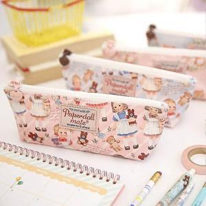 [韓国雑貨]=paper doll mate= Oil-cloth pouch P_2 ≪ペンケース≫[輸入雑貨] [文房具] [文具] [かわいい]|seoul4