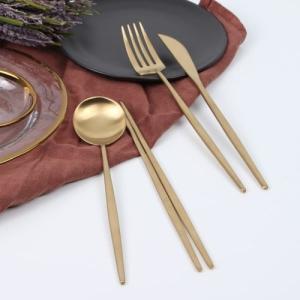 [韓国雑貨]ゴールドが美しい お箸&スプーン&ナイフ&フォーク[1セット][韓国食器][可愛い][かわいい][韓国 お土産]|seoul4