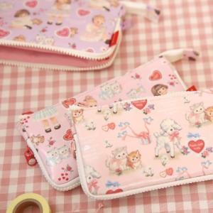 [韓国雑貨]=paper doll mate= あま〜い乙女なペンケース《zip-around pouch》[韓国文房具][可愛い][かわいい][韓国 お土産]|seoul4