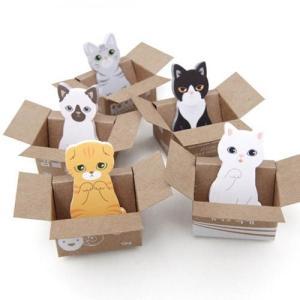 [韓国雑貨]あつ〜いニャンコの視線 ダンボールに入ったネコちゃん付箋《KITTY IT》[5種セット][付箋]|seoul4
