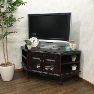 SARA(サラ) ヨーロピアンデザイン 猫脚家具 コーナーテレビ台 120cm幅 ブラウン テレビボード テレビ台 TVボード TV台 ローボード アウトレット 送料無料|sepiya