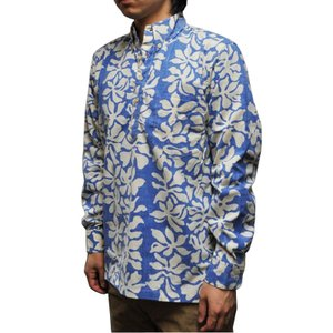 REYN SPOONER(レインスプーナー)【MADE IN HAWAII】L/S B/D P/O ALOHA SHIRTS(長袖プルオーバー ハワイ製アロハシャツ) TAHITIAN GARDENIA BLUE|septis