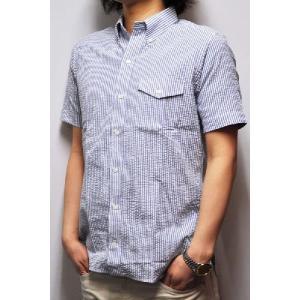 SEPTIS ORIGINAL(セプティズオリジナル) ORIGINAL IVY SHIRTS(半袖オリジナルアイビーシャツ) SEERSUCKER(シアサッカー) WHITE/BLUE septis