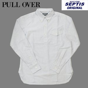 SEPTIS ORIGINAL(セプティズオリジナル) 長袖ボタンダウンプルオーバーシャツ IVY PULLOVER SHIRTS OXFORD(オックスフォード) CANDY STRIPE BLUE|septis