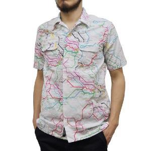 SEPTIS ORIGINAL(セプティズオリジナル) S/S OPEN COLLARED SHIRTS(半袖オープンカラーシャツ/開襟シャツ) RAILMAP WHITE septis