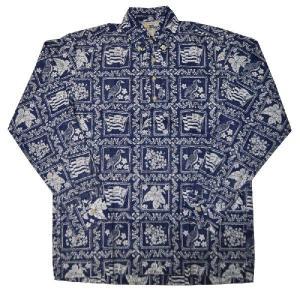 REYN SPOONER(レインスプーナー)【MADE IN HAWAII】L/S B/D P/O ALOHA SHIRTS(長袖プルオーバー ハワイ製アロハシャツ) コットン100% LAHAINA SAILOR NAVY|septis