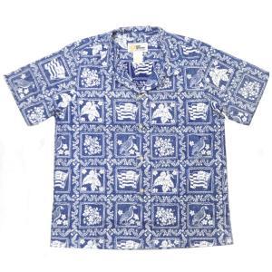 REYN SPOONER(レインスプーナー)【MADE IN HAWAII】 S/S O/C ALOHA SHIRTS(ハワイ製ボーイズサイズ アロハシャツ) COTTON100% LAHAINA SAILOR NAVY|septis