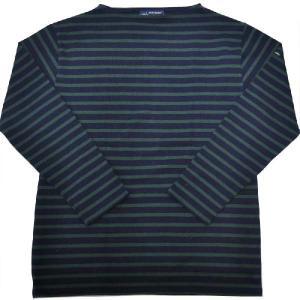 SAINT JAMES(セントジェームス) L/S BOATNECK BASQUE SHIRT(長袖ボートネックバスクシャツ) OUESSANT(ウエッソン) NAVY/PIN(NAVY/GREEN)|septis