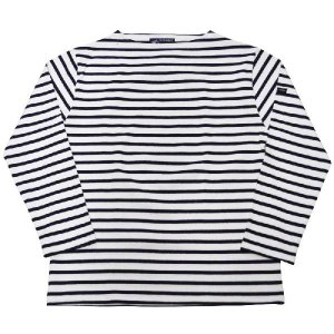 SAINT JAMES(セントジェームス) L/S BOATNECK BASQUE SHIRT(長袖ボートネックバスクシャツ) OUESSANT(ウエッソン) NEIGE/MARINE(WHITE/NAVY)|septis
