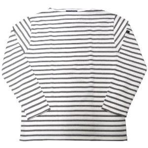 SAINT JAMES(セントジェームス) L/S BOATNECK BASQUE SHIRT(長袖ボートネックバスクシャツ) OUESSANT(ウエッソン) NEIGE/GRIS(WHITE/GREY)|septis