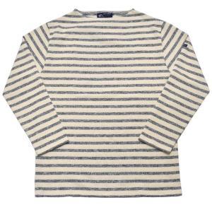 SAINT JAMES(セントジェームス) 長袖ボートネックバスクシャツ OUESSANT MELANGE(ウエッソン ミックス杢素材) ECRU/BLEUNUIT(NATURAL/NAVY)|septis