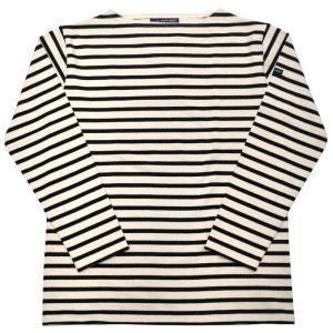 SAINT JAMES(セントジェームス) L/S BOATNECK BASQUE SHIRT(長袖ボートネックバスクシャツ) OUESSANT(ウエッソン) ECRU/NOIR(NATURAL/BLACK)|septis