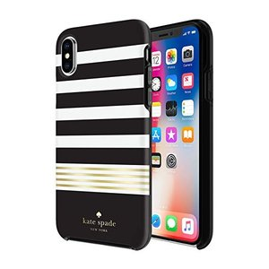 kate spade new york(ケイトスペード)iPhone x/xs スマホ ハードシェル ケース ブラック・ホワイト・ゴールド ストライプ|serekuto-takagise