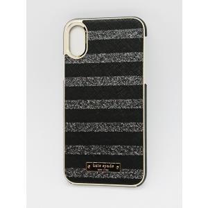 kate spade new york(ケイトスペード)iPhone X / XS スマホ ケース サフィアーノ・ブラック & グリッター・シルバーストライプ|serekuto-takagise