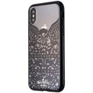 kate spade new york(ケイトスペード)iPhone X スマホ ハードシェル ケース クリア・ブラック レース ハミングバード|serekuto-takagise