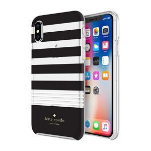 kate spade new york(ケイトスペード)iPhone x/xs スマホ ハードシェル ケース ブラック・ホワイト ストライプ|serekuto-takagise
