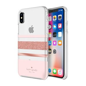 kate spade new york(ケイトスペード)iPhone X / XS ケース シャーロットストライプローズゴールドグリッター/ブラッシュ/クリア|serekuto-takagise