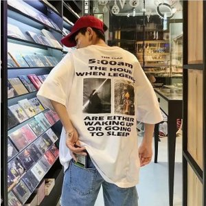 オーバーサイズ メンズ 半袖 Tシャツ ビックシルエット ストリート バックプリント 韓国 夏 肩落ち プリント ロゴプリント|serekuto-takagise