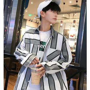 ストライプ シャツ メンズ 韓国 春秋 2019 ストリート|serekuto-takagise