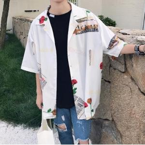 オーバーサイズ メンズ 半袖 シャツ 柄シャツ ビックシルエットストリート 総柄 韓国 夏 肩落ち プリント シャツロゴ|serekuto-takagise