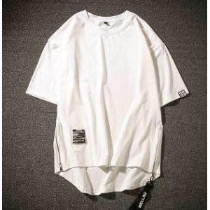 メンズ 新品 ロゴテープ 半袖Tシャツ 白 サイドチャック 韓国 XL|serekuto-takagise