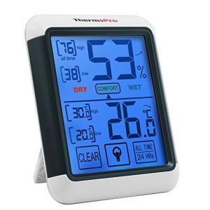 ThermoProデジタル湿度計 温度計室内 LCD大画面温湿度計 最高最低温湿度表示 タッチスクリーンとバックライト機能あり 置き掛け両用タイプ マグネット付TP55 serekuto-takagise