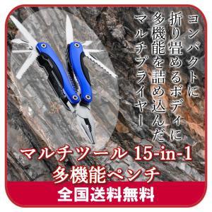 マルチプライヤー マルチツール 15-in-1 (ナイス ディズ) 多機能ペンチ ミニペンチ  (ブルー) ケース付|server