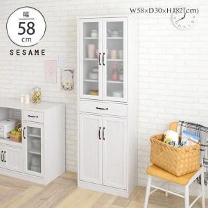 手が届きやすい薄型食器棚。 食器棚 スリム 幅60cm カップボード キッチン収納 キッチンラック ナチュラル シャビー カントリーホワイト 白 <LUFFY/LU180-60G>の写真