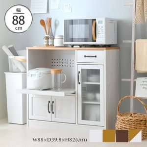 【WH予約販売:6月下旬頃入荷予定】コンパクトレンジ台 レンジ台 ロータイプ 幅90cm レンジボード キッチン収納 ホワイト 白 <LUFFY/LU80-90L>の写真