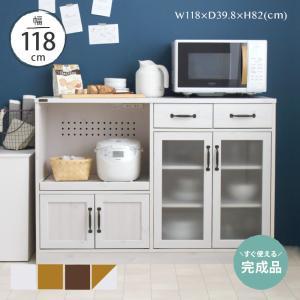 完成品 レンジ台 白 カウンタータイプ 大型レンジ対応 レンジボード キッチンカウンター 食器棚 幅120cm シンプル かわいい LUFFY/LUK80-120Lの写真