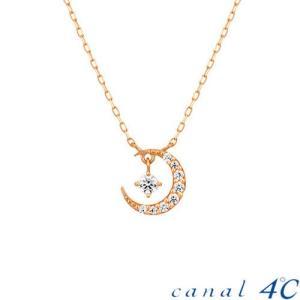 カナル4℃ ヨンドシー ネックレス 月型ネックレス K10ピ...