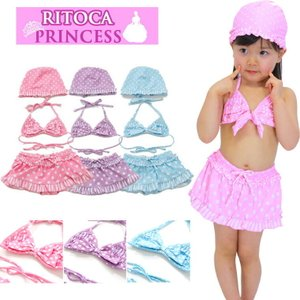 RITOCA リトカ ベビー水着 キッズ水着 女の子 セパレート スイムキャップ 水着 ビキニ 水泳 帽子 子供 幼児 ジュニア|sete-luz