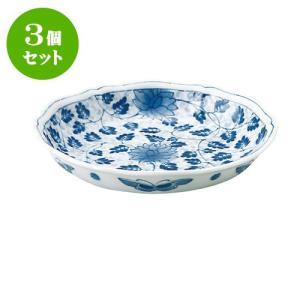 3個セット 中皿 和食器 / 藍唐草 RI輪花五〇深皿 寸法:直径17 X 3.5cm 日本製 国産|setomono-honpo