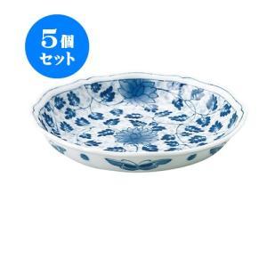5個セット 中皿 和食器 / 藍唐草 RI輪花五〇深皿 寸法:直径17 X 3.5cm 日本製 国産|setomono-honpo
