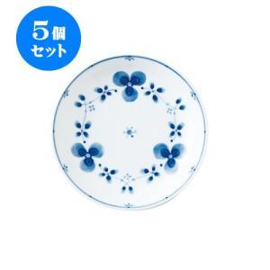 5個セット 中皿 和食器 / 藍つづり UK六〇皿 寸法:直径20 X 3.5cm 日本製 国産|setomono-honpo