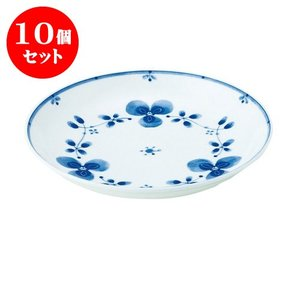 10個セット 中皿 和食器 / 藍つづり UK七〇皿 寸法:直径22 X 3.5cm 日本製 国産|setomono-honpo