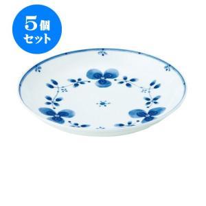 5個セット 中皿 和食器 / 藍つづり UK七〇皿 寸法:直径22 X 3.5cm 日本製 国産|setomono-honpo