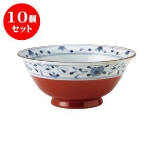 10個セット 麺鉢 和食器 / 赤巻つる唐草 古染UK麺鉢 寸法:直径19.5 X 8.5cm 日本製 国産|setomono-honpo