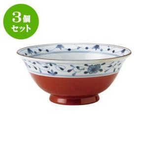 3個セット 麺鉢 和食器 / 赤巻つる唐草 古染UK麺鉢 寸法:直径19.5 X 8.5cm 日本製 国産|setomono-honpo