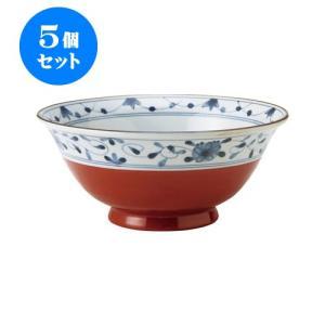 5個セット 麺鉢 和食器 / 赤巻つる唐草 古染UK麺鉢 寸法:直径19.5 X 8.5cm 日本製 国産|setomono-honpo