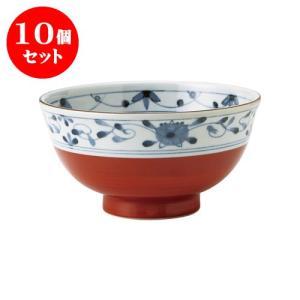 10個セット 丼 和食器 / 赤巻つる唐草 古染UK小丼 寸法:直径15 X 8cm 日本製 国産 setomono-honpo