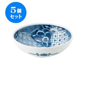 5個セット 中鉢 和食器 / 藍祥瑞 RI四〇取鉢 寸法:直径13.5 X 4.5cm 日本製 国産 setomono-honpo