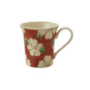 マグカップ 和食器 / 赤濃山茶花 ペコマグ 寸法:12 X 8.5 X 9.5cm 270cc 日本製 国産 setomono-honpo