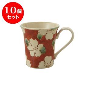 10個セット マグカップ 和食器 / 赤濃山茶花 ペコマグ 寸法:12 X 8.5 X 9.5cm 270cc 日本製 国産 setomono-honpo